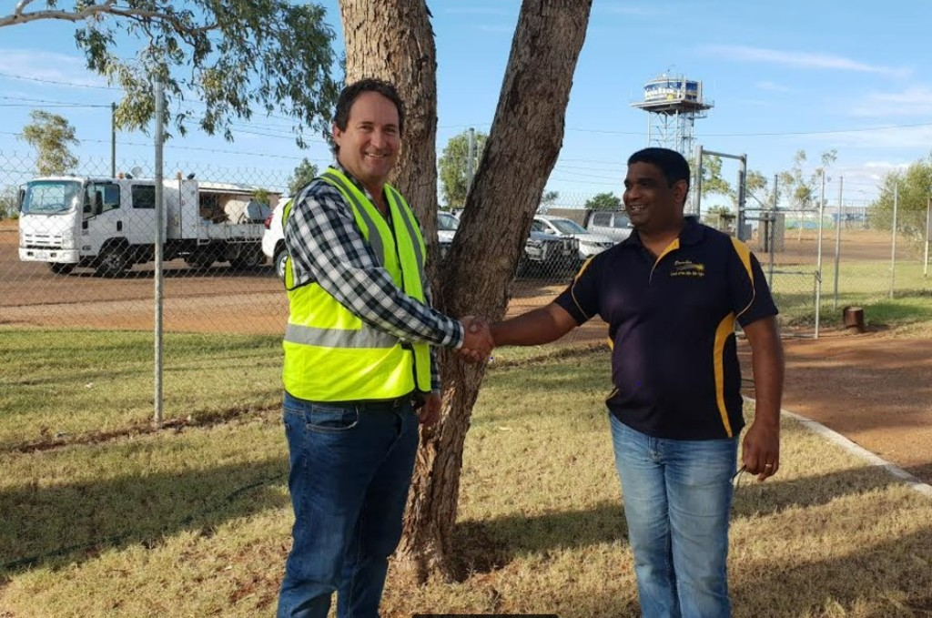 CurryPM Project Manager Frank Plozza with Boulia Director of Works and Operations Harin Karra