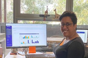 Monica working on the Grant Management Platform
